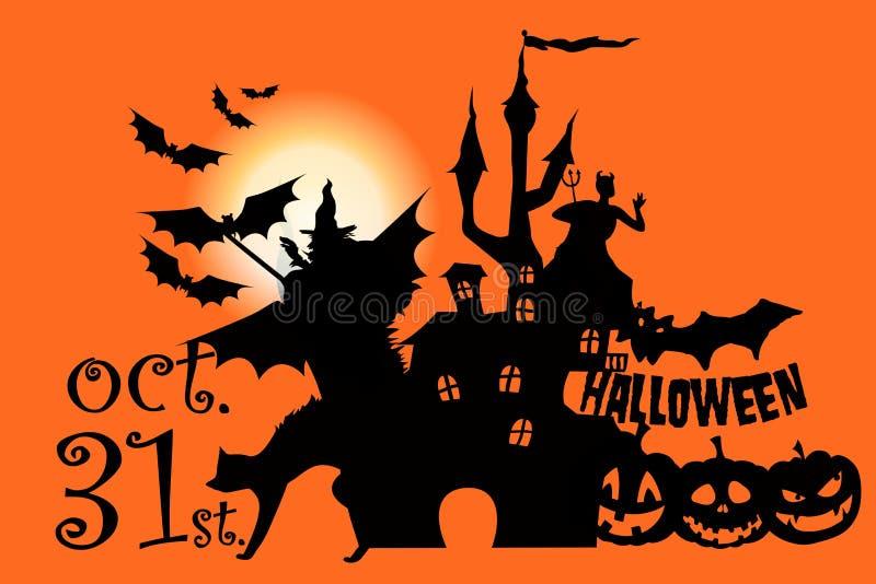 Halloween greeting card on Orange background. Illustration design stock photo