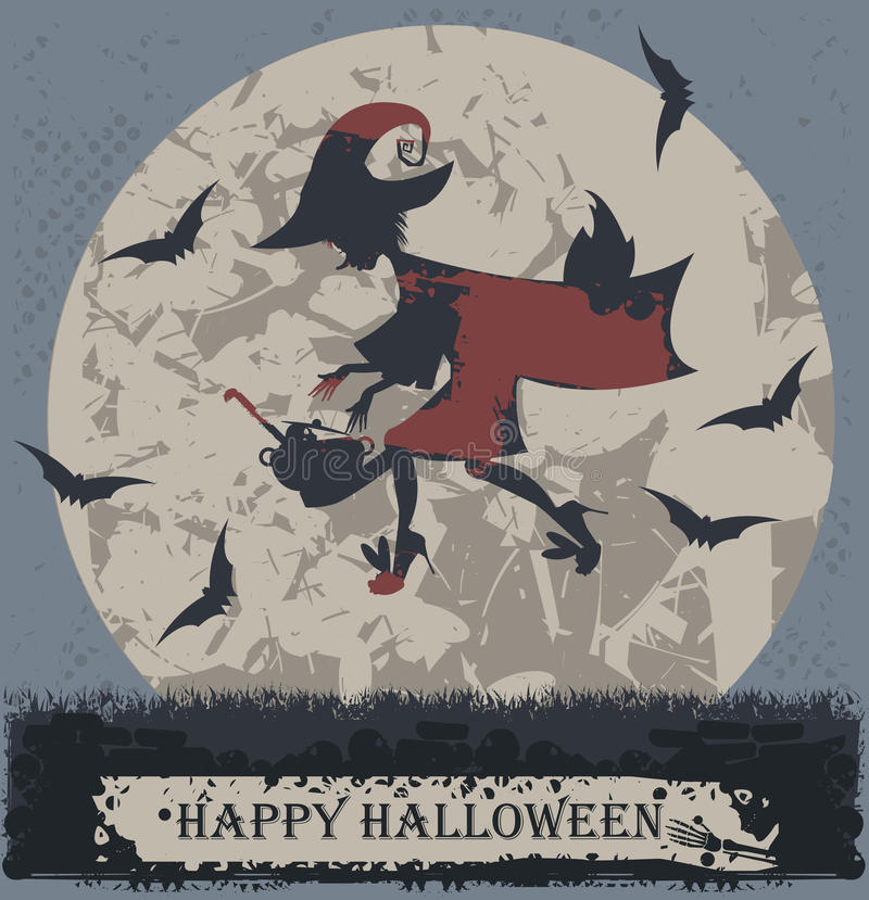 Halloween greeting card with stylish flying witch vector illustration