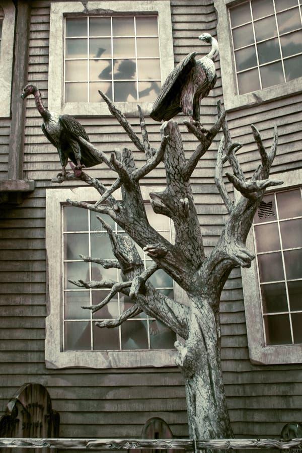 Halloween: griezelig huis stock foto