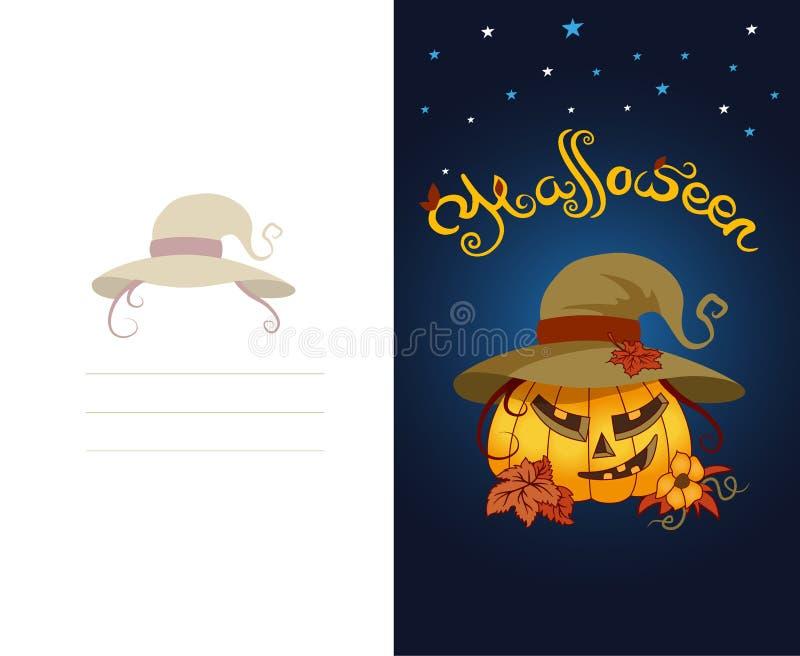 Halloween-groetkaart met enge pompoen die hoed dragen vector illustratie