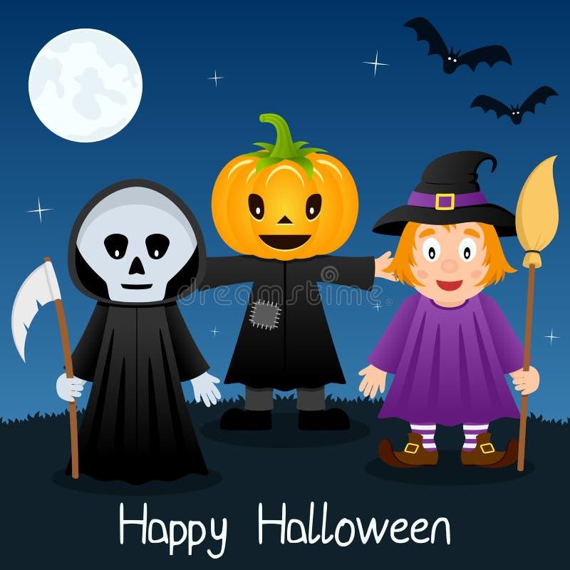 Halloween-Groetkaart met Monsters royalty-vrije illustratie