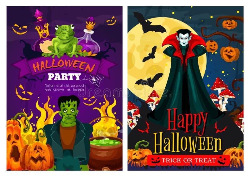 Halloween-Grußfahne mit Zombie und Vampir stock abbildung