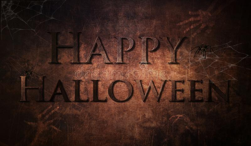 Halloween grunge creepy background with skeletons hands royalty free stock images