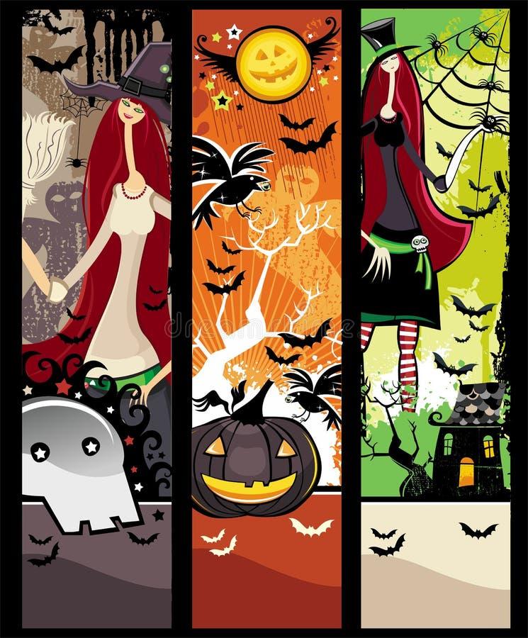 Halloween grunge Fahnen vektor abbildung