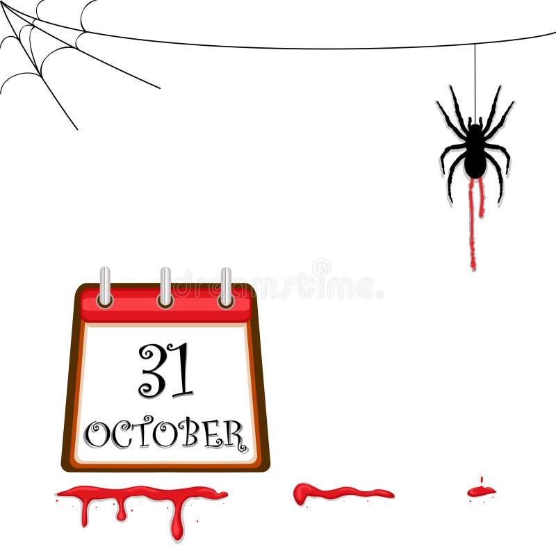 Halloween-gruselige Spinne vektor abbildung. Illustration von gruß ...