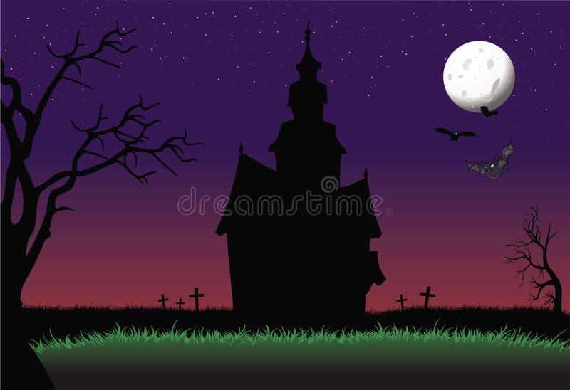 Halloween ha frequentato la priorità bassa della casa royalty illustrazione gratis