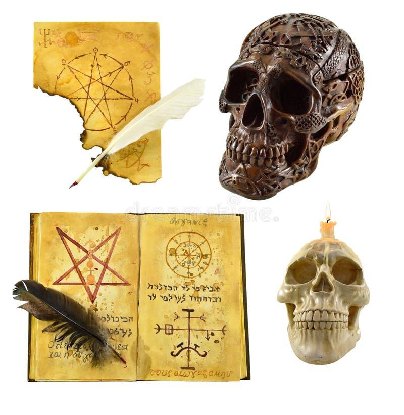 Halloween ha messo con i crani immagini stock libere da diritti