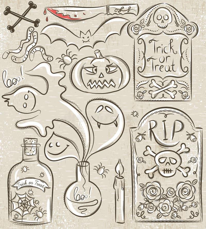 Halloween ha messo con il fantasma, cranio, barattolo con il ragno illustrazione di stock