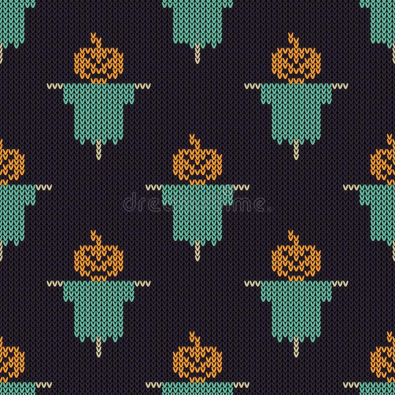 Halloween ha tricottato il modello Struttura tricottante senza cuciture con il pumpki illustrazione vettoriale