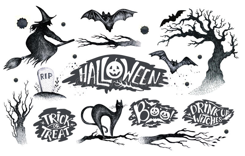 Halloween hand drawing black white graphic set icon, drawn Halloween symbols pumpkin, broom, bat, witches. Horror elements. Pumpkins, ghosts, witches, bats stock illustration