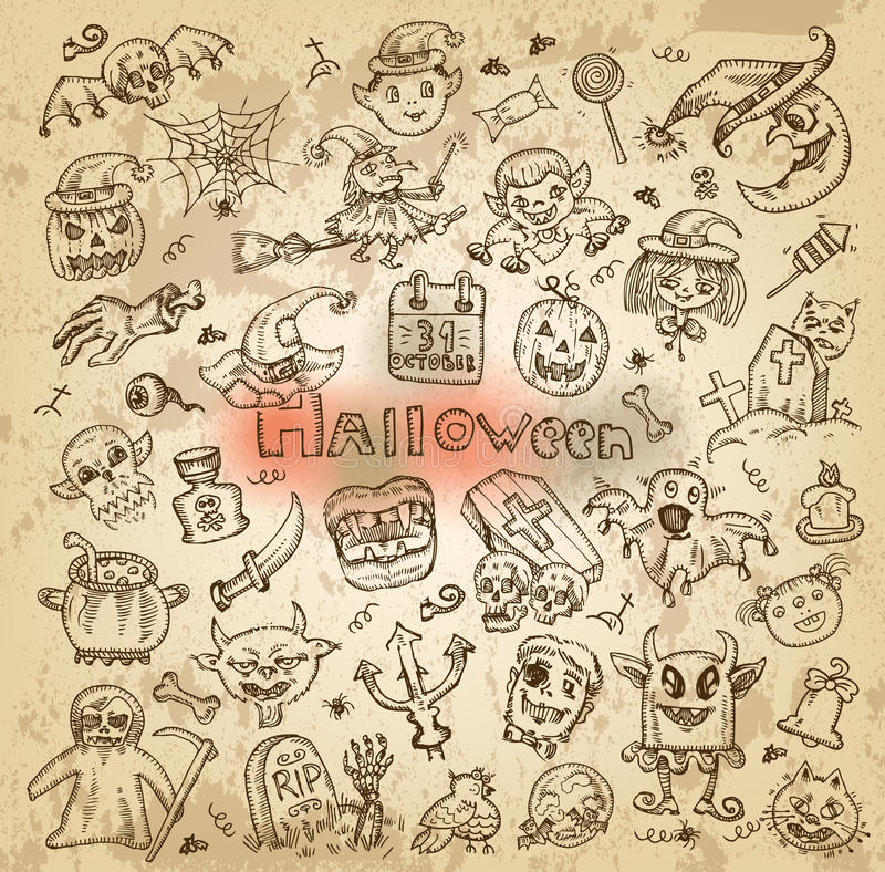 Download Halloween. Hand-drawn Icons Stock Vector - Image: 33661140
