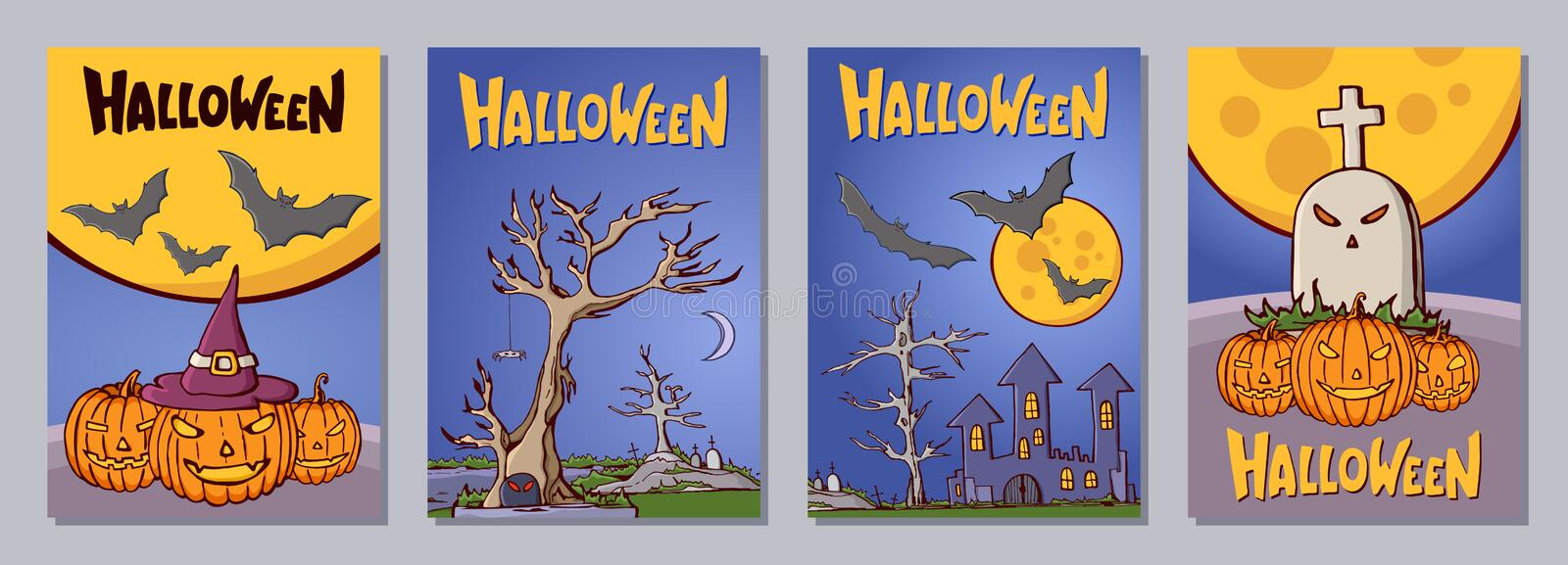 Halloween hand drawn invitation or greeting cards set with latte royalty free illustration