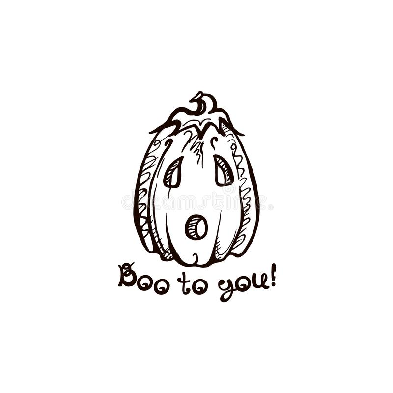 Halloween hand drawn pumpkin with handwritten phrase royalty free illustration