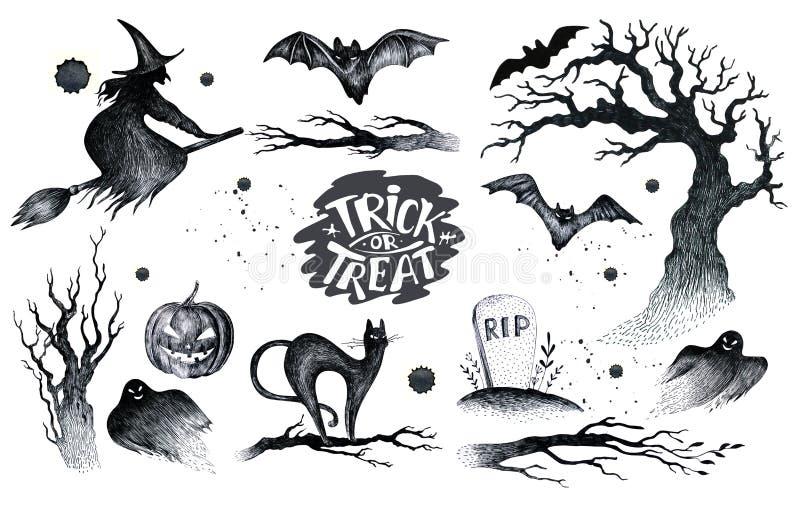 Halloween-Hand, welche die gesetzte Ikone der schwarzen weißen Grafik, gezeichnet hallo zeichnet lizenzfreie abbildung