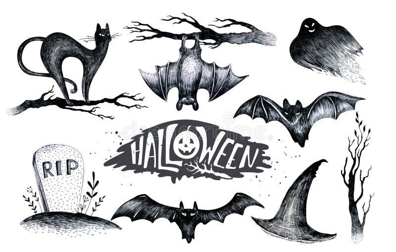 Halloween-Hand, welche die gesetzte Ikone der schwarzen weißen Grafik, gezeichnet hallo zeichnet vektor abbildung