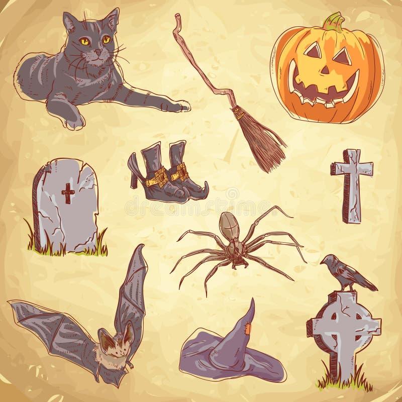 Halloween Handdrawn Vintage Collection Stock Image