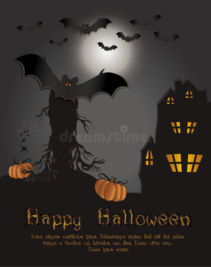 Halloween Happy Card Bat Stock Photography