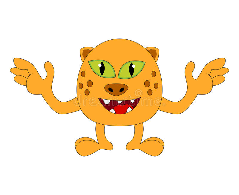 Halloween happy cartoon monster, funny, cute tiger, cat character vector illustration isolated royalty free illustration