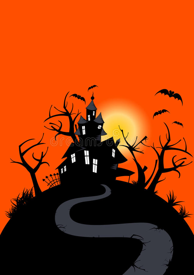 Halloween haunted house royalty free illustration