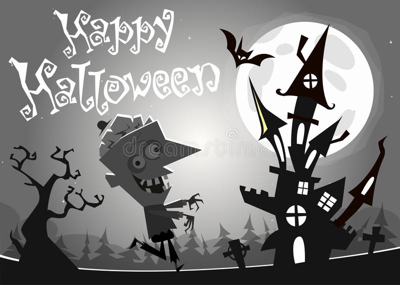 Halloween haunted house on night background with a walking dead zombie. Vector illustration. Black and white vector illustration