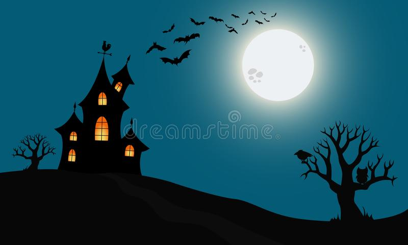 Halloween haunted house. Vector illustration with moon and silhouettes of trees? birds and flying bats stock illustration