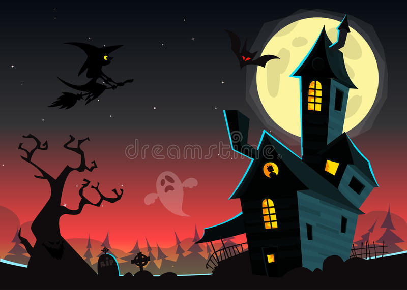 Halloween haunted moonlight night background with spooky house and cemetery, can be use as flyer vector illustration