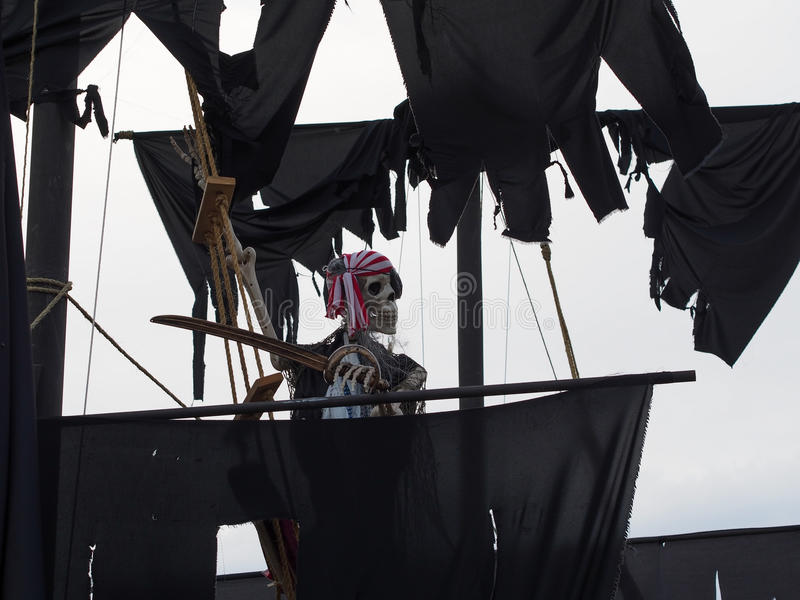 Halloween - Haunted Pirate Ship on Front Yard stock images