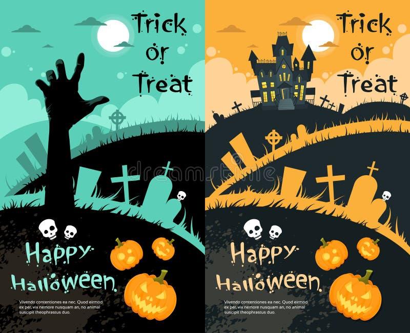 Halloween-Haus-Kürbis-Gesichts-Partei-Einladungs-Karte vektor abbildung