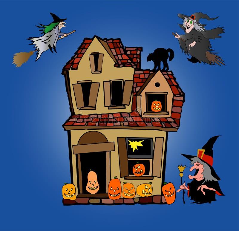 Halloween-Haus und Hexen vektor abbildung
