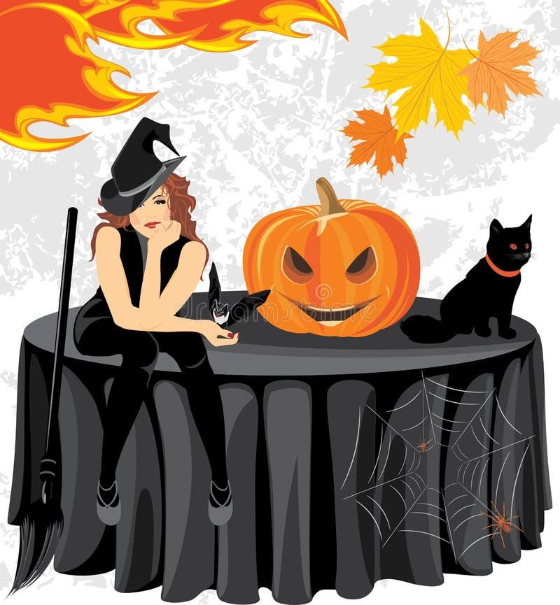 Halloween-heks met een knuppel, katten en pompoenzitting op de lijst royalty-vrije illustratie