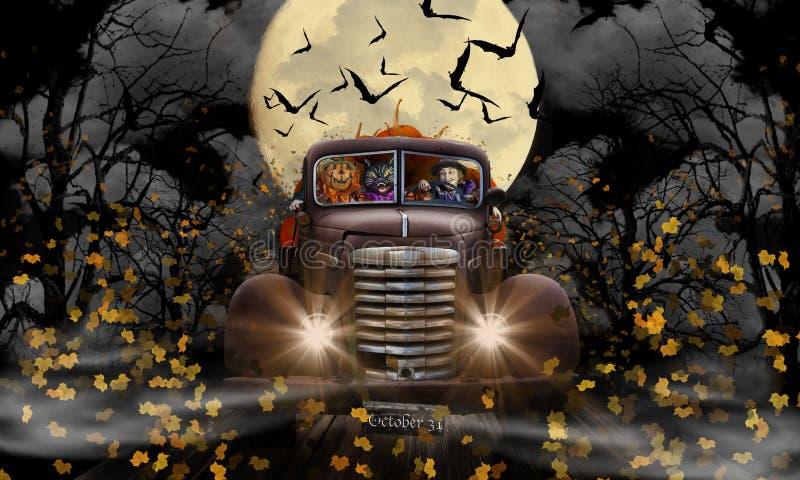 Halloween-Heksenkat en Pompoen royalty-vrije stock afbeeldingen