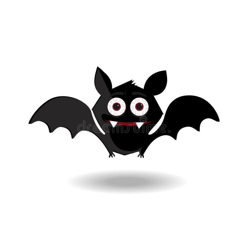 Halloween-het karakter van de klemkunst van gelukkige knuppel flittermouse voor de groetkaart van de jonge geitjespartij, vector illustratie