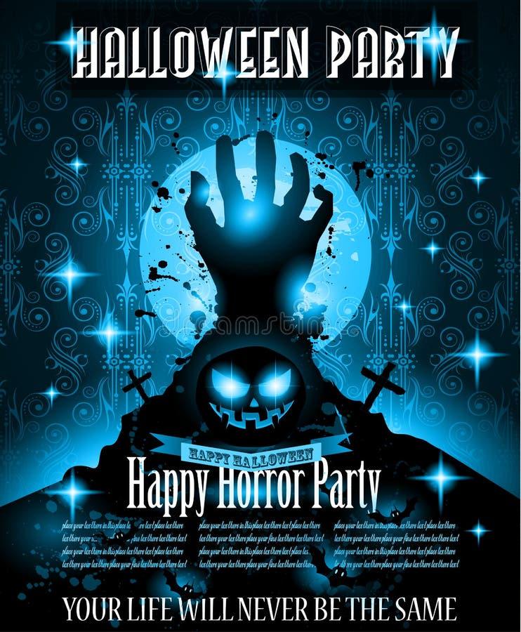 Halloween-het malplaatje van de de Vliegerpartij van de Nachtgebeurtenis met Ruimte voor tekst vector illustratie