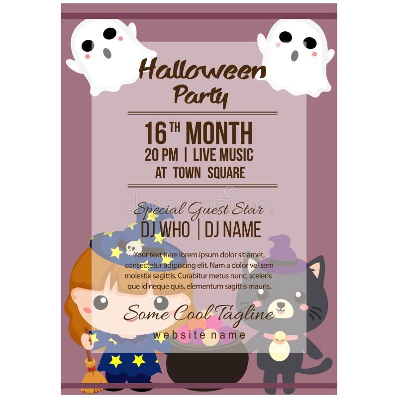 Halloween-het malplaatje van de partijaffiche met lief beeldverhaalkarakter vector illustratie