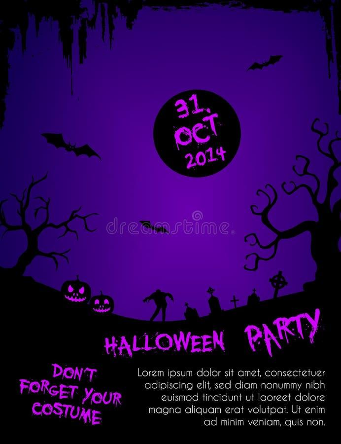 Halloween-het malplaatje van de partijvlieger - purple en zwarte vector illustratie
