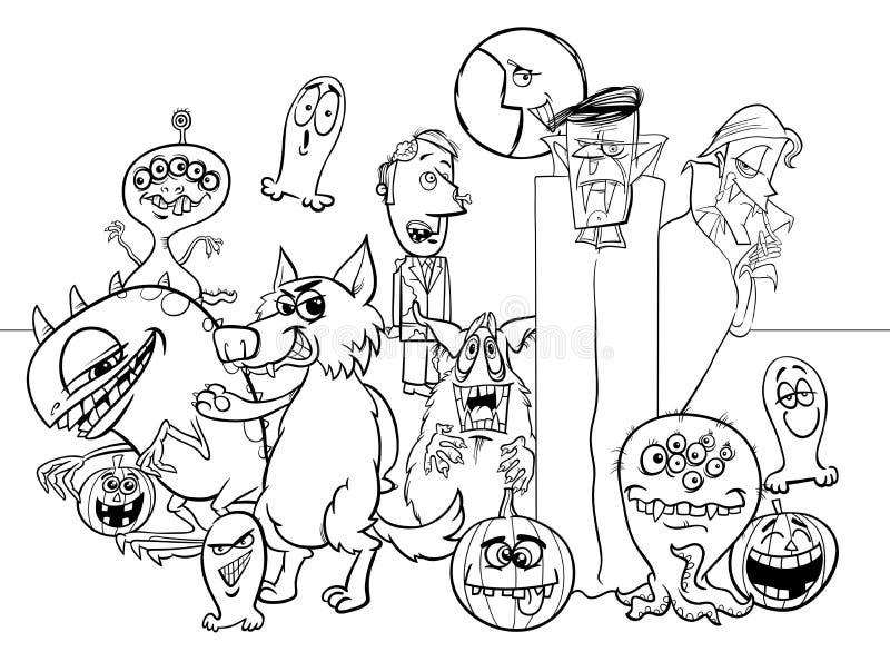 Halloween-het monsterkarakters die van het vakantiebeeldverhaal boek kleuren stock illustratie