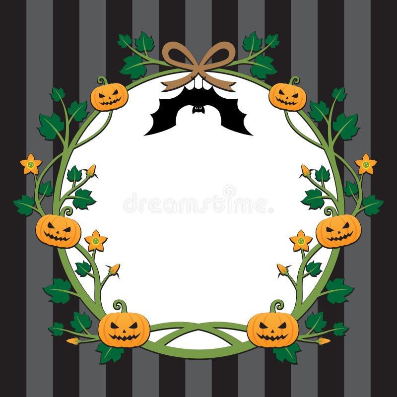 Halloween-het ontwerp van de pompoengrens op streepachtergrond stock afbeeldingen