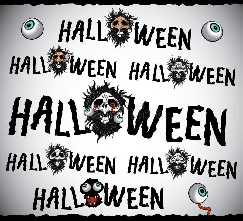 Halloween-het ontwerp van verschrikkingsschedels vector illustratie