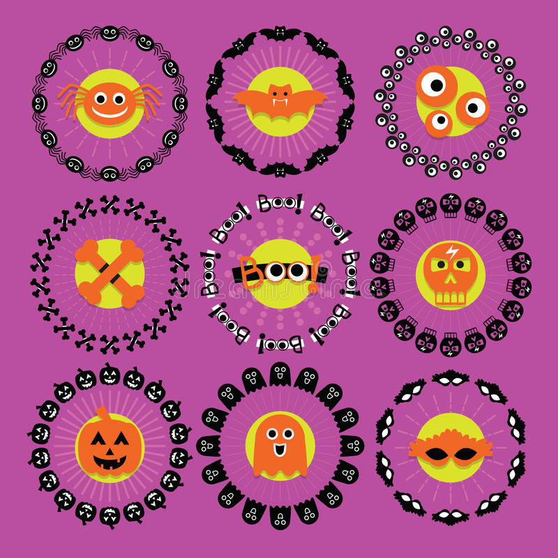Halloween-het patroonemblemen van de cirkelgrens op purple worden geplaatst die vector illustratie
