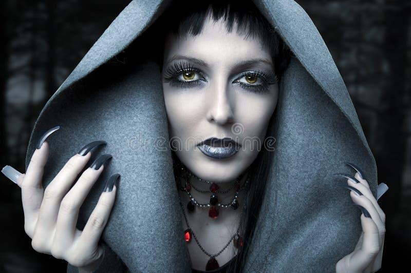 Halloween. Het portret van de manier van heks royalty-vrije stock afbeelding