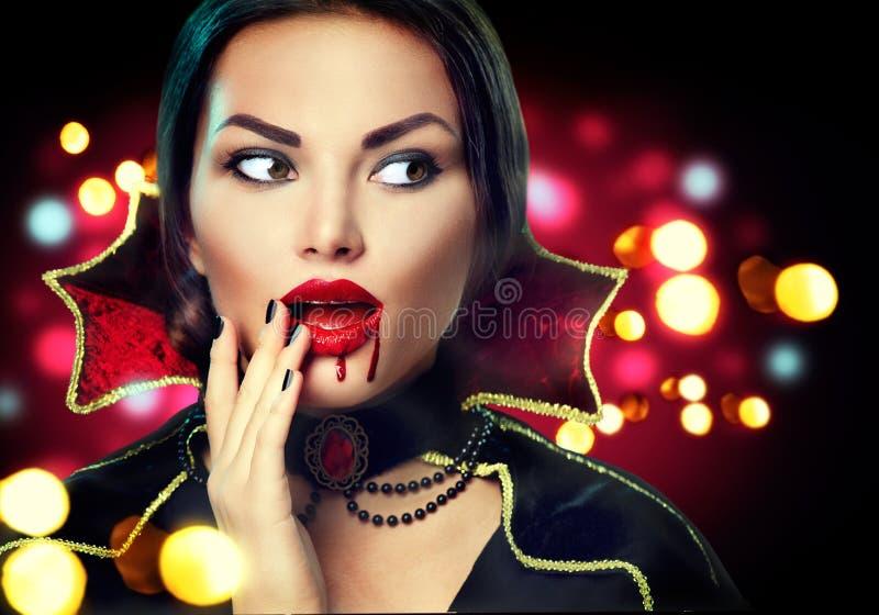 Halloween-het portret van de vampiervrouw stock foto's
