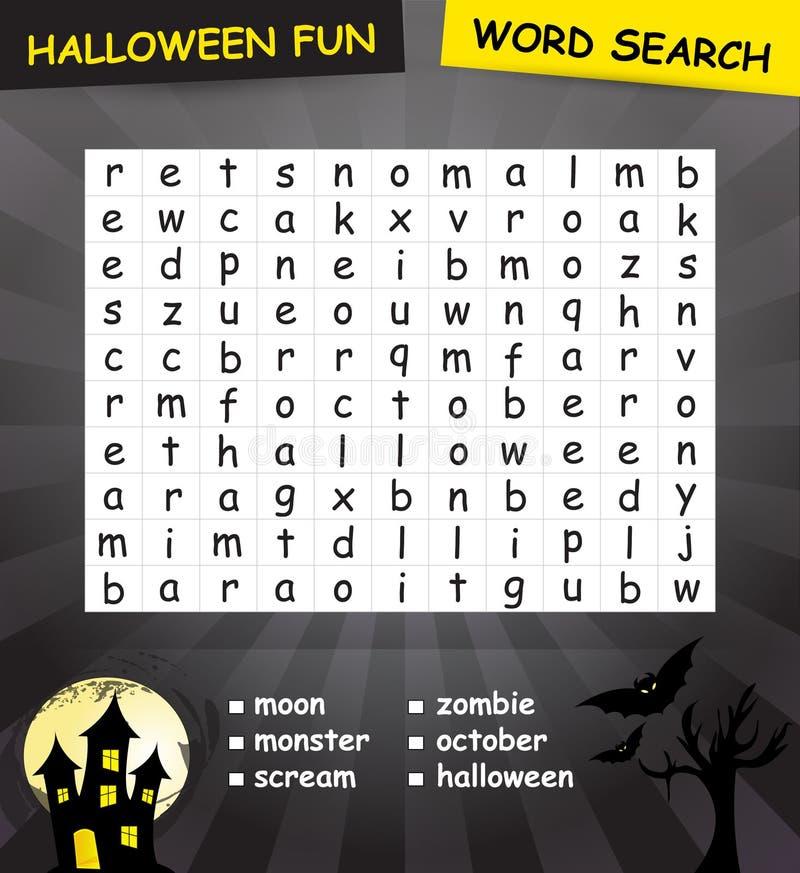 Halloween-het spel van het woordonderzoek royalty-vrije illustratie