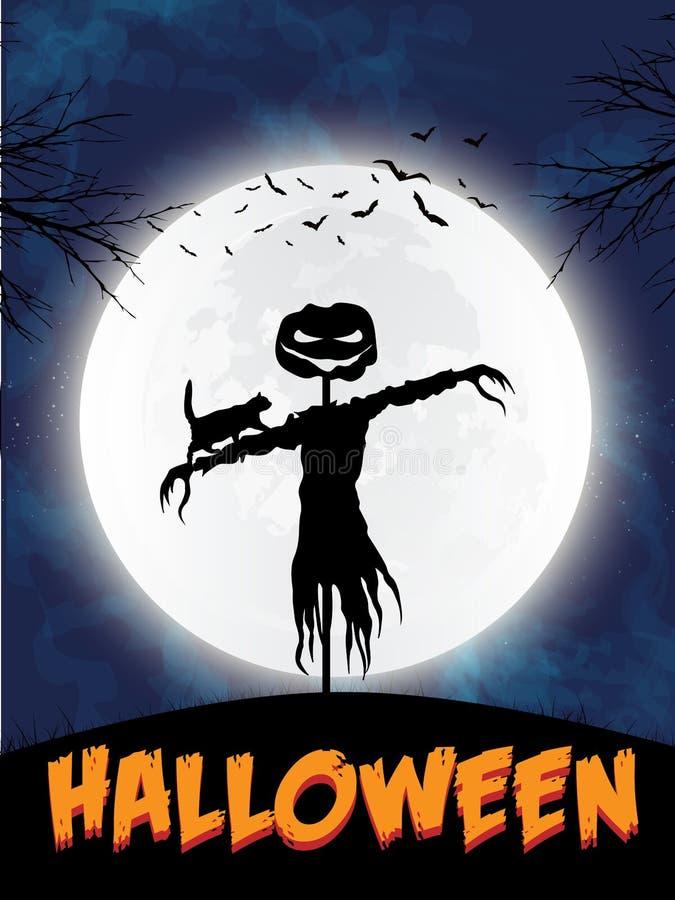 Halloween-het thema van het vogelverschrikkersilhouet - de vectorillustratie van eps10 stock illustratie