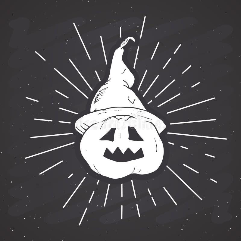 Halloween-het uitstekende etiket van de groetkaart, Hand getrokken schetspompoen, grunge geweven retro kenteken, de t-shirtdruk v royalty-vrije illustratie