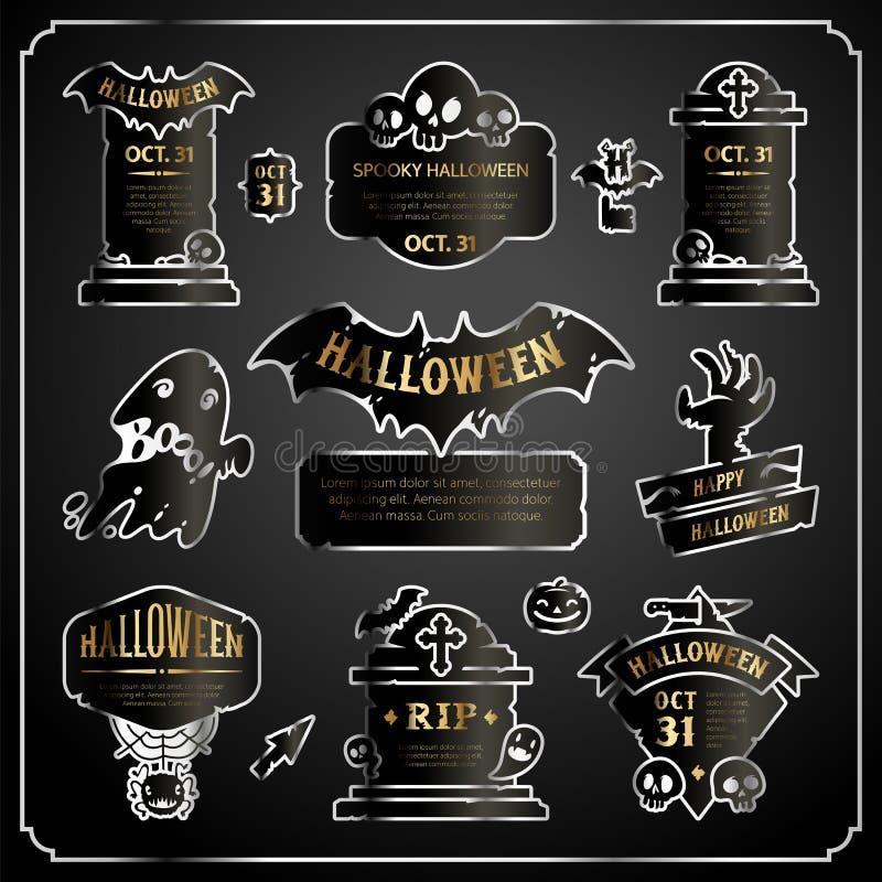Halloween-het Zilver van Ontwerpetiketten met Gouden Reeks vector illustratie
