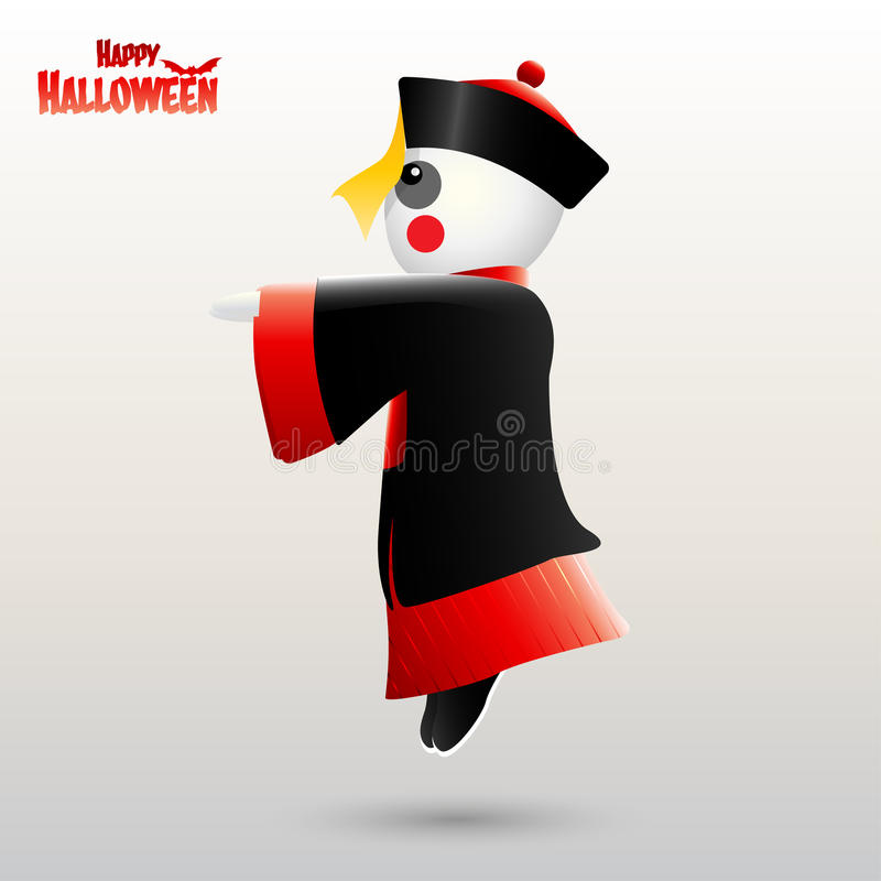 Halloween heureux avec le zombi chinois illustration de vecteur