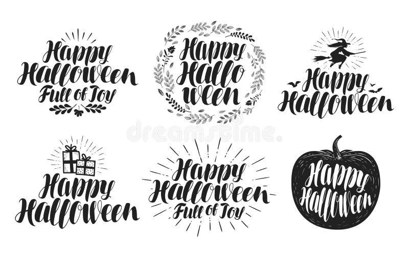 Halloween heureux, ensemble de label Symbole ou logo de vacances Beau lettrage manuscrit, illustration de vecteur illustration stock