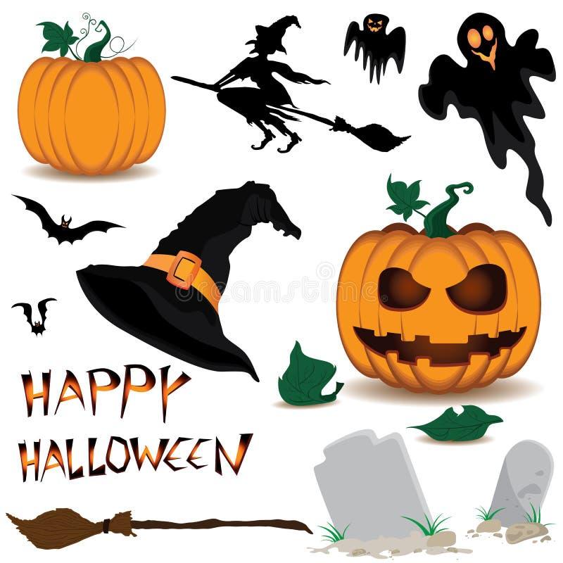 Halloween heureux et potiron, sorcière, fantasmagorique, chauves-souris, objets d'isolement sur le fond blanc illustration stock