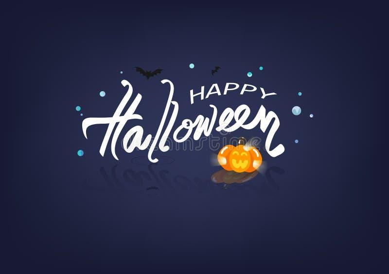 Halloween heureux, illustration liquide de vecteur de concept d'affiche de logo de bannières, calligraphie, carte de voeux, fond  illustration stock