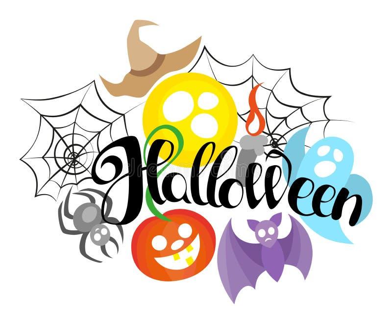 Halloween heureux, lettrage tiré par la main Textotez la bannière ou le fond pour Halloween, illustration écrite par main illustration libre de droits